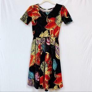 LuLaRoe Amelia Dress Black Floral Print Size XS